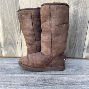 UGG Dark Brown Tall Shearling Boots Sz 9